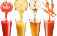 Conceptual image - fresh juice pours from fruits and vegetables in a glass. Photo on a white background.