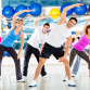 Group of people at the gym in an aerobics class