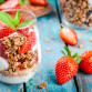 Homemade vanilla granola parfait with strawberry and mint