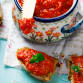 paste from baked sweet pepper on slices of homemade bread with bran. healthy food. selective focus