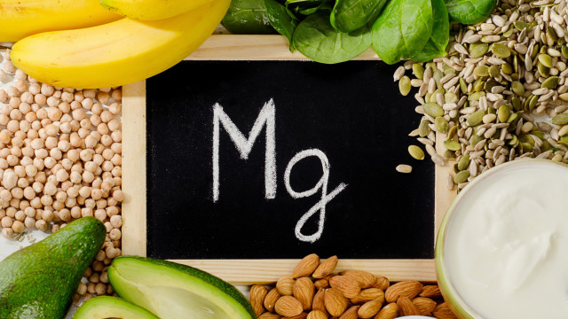 Products containing magnesium. Healthy eating. Flat lay